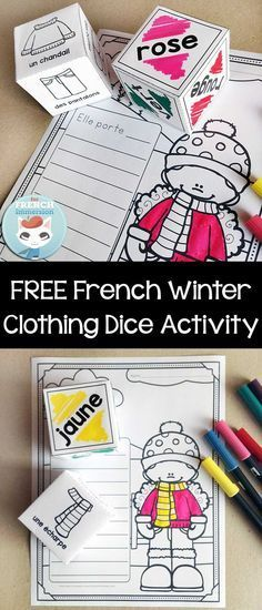 FREE French Winter Clothing Activity with dice – kids practice vocabulary for winter clothing (les vêtements d'hiver) and color words en français!