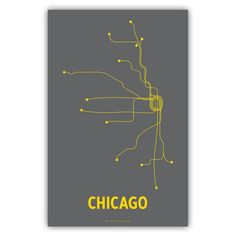 "Chicago Digital Print Gray  by Lineposters, 28% off (""Created by graphic designer Cayla Ferari and engineer John Breznicky, this Chicago Lineposters Digital Print is a Fab.com exclusive! Depicting the Chicago transit system with a clean, stripped-down yellow graphic printed on gray cover paper, this super-hip print comes in a standardized 17"" x 11"" size that makes for easy and affordable framing."")"