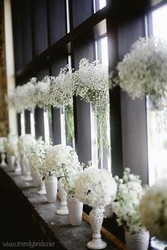 Flores blancas en jarrones de diferentes tamaños