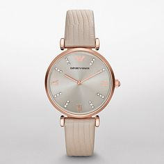 Buy Emporio Armani AR1681 Women's Leather Strap Watch, Cream/Silver Online at…