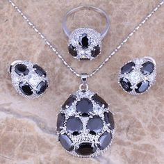 Gorgeous Black Sapphire 925 Sterling Silver Overlay Jewelry Sets