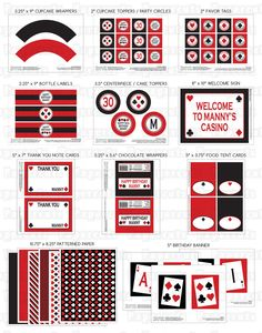 Printable DIY Red and Black Casino Night Poker Playing Card Theme SMALL Birthday Package. $20.00, via Etsy.