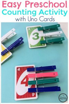 Preschool Counting Activity Easy Preschool Counting Activity for kids using Uno Cards and Clothspins.Easy Preschool Counting Activity for kids using Uno Cards and Clothspins. Preschool Centers, Numbers Preschool, Preschool Learning Activities, Kindergarten Activities, Preschool Activities, Kids Learning, Learning Games, Summer Activities, Counting Activities For Preschoolers