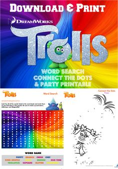 Trolls Movie Printables: Word Search, Connect the Dots and Party Games
