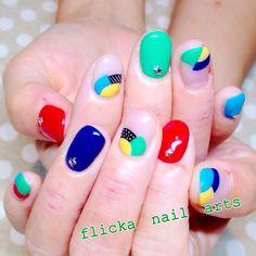 モノトーンなテキスタイル柄ネイル の画像 茨城県水戸市プライベートネイルサロン flicka Nail Arts