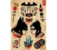 Batman and Catwoman tattoo design
