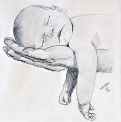 , Dibujo A Lápiz, Las Manos Del Bebé