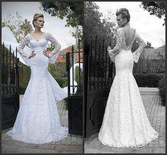 Vestidos De Noiva 2014 New Fashionable Long Sleeves V Neck Mermaid Backless Lace Wedding Dresses Floor Length Bridal Gowns