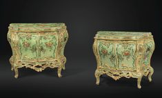 A PAIR OF ITALIAN GILT AND POLYCHROME-PAINTED COMMODES, VENICE, MID 18TH CENTURY