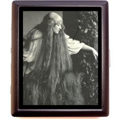 Art Deco Art Nouveau Woman With Super Long Hair Cigarette or Business... ($9.99) ❤ liked on Polyvore featuring bags, wallets, pictures, lightweight bags, metal wallet, metal card case wallet, art deco bag and evening bags