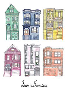 "San Francisco Houses, 9x12"" Print"
