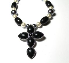 Handmade Black Gray and White Beaded Necklace with by JKCEDesigns, $29.95