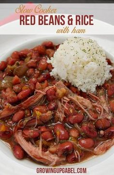 Slow cooker red beans and rice recipe is an simple and budget friendly dinner recipe for the Crock Pot. Made with ham, this easy meal is great for families!