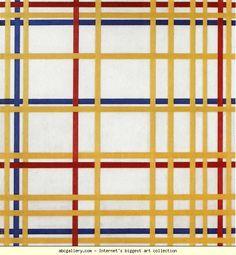 Piet Mondrian.  New York City I.  1942. Oil on canvas. 119.3 x 114.2 cm. Musée National dArt Moderne, Centre  Georges Pompidou, Paris, France.