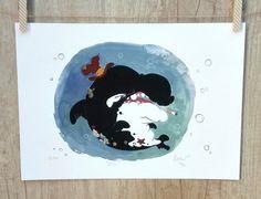 Orca whale Fine Art Print, gouache illustration by Whale Painting, Gouache Painting, Terrapin, Toad, Limited Edition Prints, Drawing People, Illustrators, Fine Art Prints, Original Art