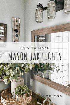 Projects Archives | Bless This Nest Diy Mason Jar Lights, Mason Jar Light Fixture, Diy Light Fixtures, Mason Jar Lids, Bathroom Light Fixtures, Mason Jar Lighting, Mason Jar Bathroom, Bathroom Ideas, Small Bathroom