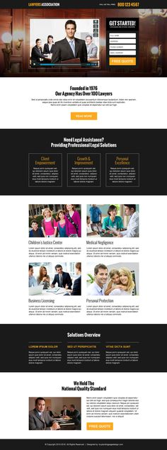 lawyers association responsive video landing page design template