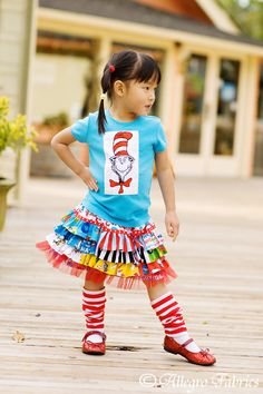 Dr Seuss Cat In The Hat Ruffle Skirt Sewing Kit by AllegroFabrics, $39.00