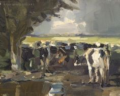 Landscape autumn #3 Cows - Meeting again Koeien, painting by artist Roos Schuring