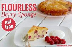 Finally a flourless berry sponge that is nut free! Yes, no almond flour here, just simple easy coconut flour, eggs and berries. Sugar Free Recipes, Sweet Recipes, Real Food Recipes, Cooking Recipes, Low Carb Sweets, Low Carb Desserts, Low Carb Recipes, Healthy Recipes, Healthy Desserts