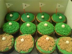 Golf cupcakes- need to remember for Dad's birthday Golf Cupcakes, Bunny Cupcakes, Cupcake Cakes, Fun Cakes, Chocolate Sponge Cake, Tasty Chocolate Cake, Celebration Cakes, Birthday Celebration, Cake Show