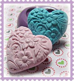 kawaii flower heart mold flexible silicone push mold / by moldsrus