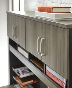 Office desk hutch with plenty of storage space on our exclusive Hudson Elm Via collection from Sauder. Ikea Closet Storage, Office Storage, Storage Spaces, Pantry Storage Containers, Kitchen Pantry Storage, Large Storage Cabinets, Desk Styling, Desk Hutch