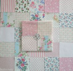 Vintage Laura Ashley Patchwork Fabric Squares~Rose Pinks