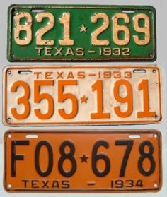Three of the fifteen different license plates found in Bonnie and Clyde's car Bonnie And Clyde Car, Bonnie Parker, Public Enemies, Gangsters, License Plates, Historical Pictures, Blind, Events, History