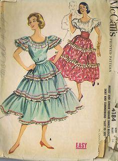 McCall's Pattern  Pattern Number 4184  Copyright: 1957    Vintage 50s Square Dance Skirt Blouse and Cummerbund Pattern
