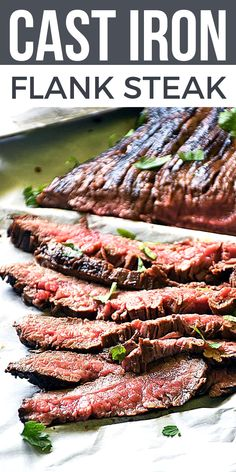 The BEST flank steak ever is ready in just 20 minutes! My recipe for Cast Iron Flank Steak, is delicious, LOW CARB, quick & easy to make. This steak dinner is one of my FAVORITE go-to easy dinner ideas! Flank steak is very versatile too. Use leftover flank steak for flank steak fajitas, flank steak salad, flank steak sandwiches, you name it! Perfect easy dinner recipe! #LTGrecipes #flanksteak #steak #easydinner #steakdinner #steakmarinade, #dinnerrecipe #castiron