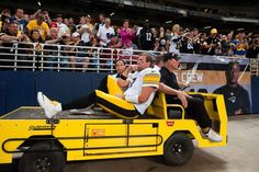 Pittsburgh Steelers quarterback Ben Roethlisberger (7) is taken off the field after being injured during the third quarter against the St. Louis Rams at The Edward Jones Dome.