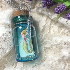 Blue mermaid necklace. Mermaid in a bottle. Watercolor painting in a bottle. Cute little mermaid necklace for sale. $20.00