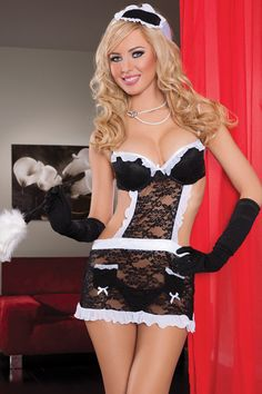 Fantasy Maid - Lace apron, underwire cup, adjustable straps, mesh ruffle trim, apron pockets, headpiece, and thong (feather duster and gloves not included).