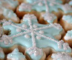 Winter decorated sugar cookies. Royal icing. Light blue, white. Snowflake.