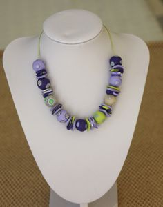 Beaded necklace in purple and green, polymer clay. $29.00, via Etsy.