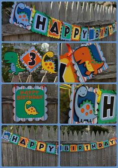 Dinosaur Birthday Banner - new color combination! Door sign, centerpiece and banners!! #4heartspapercraftco #dinosaurbirthday
