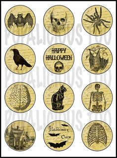 12 Vintage Halloween Images Flat Back Buttons or by popalicioustoo