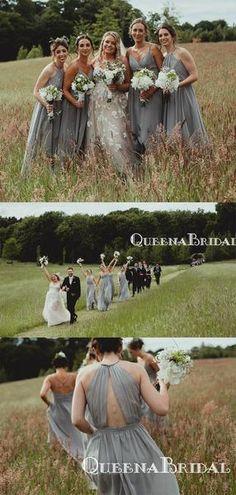 Newest Mismatched Charming Grey Chiffon A-line Long Cheap Wedding Party Bridesmaid Dresses, Champagne Bridesmaid Dresses, Elegant Bridesmaid Dresses, Dress Backs, Dream Dress, Dress Making, Chiffon, Bridal, Lace, Wedding