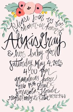 Calligraphy Baby Shower Invitations