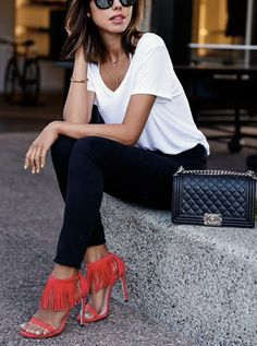 8 Super-Chic Ways to Dress Up a White Tee via @PureWow