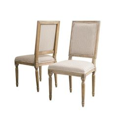 Noble House Madison Dark Coffee Stripe Fabric Weathered Oak Dining Chair (Set of 3881 - The Home Depot Striped Dining Chairs, Linen Dining Chairs, Dining Chair Set, Upholstered Chairs, Dining Table, Traditional Dining Chairs, H & M Home, Weathered Oak, Side Chairs