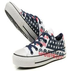Blue Red Converse All Star American Flag And Letters Graffiti Low Top White Canvas Shoes Australia Outlet