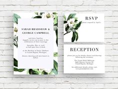 Magnolia White Vintage Botanical Illustration Wedding Invitation