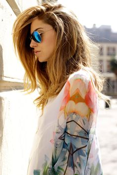 Ray-Ban blue reflective sunglasses and flowy top//