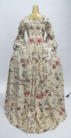 Dress Date: 1750–75 Culture: French Medium: cotton Dimensions: Length at CB (a): 58 in. (147.3 cm) Length at CB (b): 36 1/2 in. (92.7 cm) Credit Line: Purchase, Irene Lewisohn Bequest, 1964