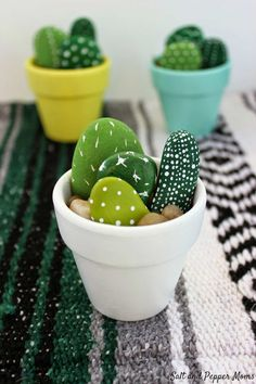 Colourful hand painted mini cactus - 10 Cute Cactus Projects | Tinyme Blog