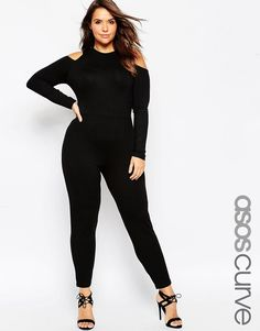 ASOS+CURVE+Peg+Leg+Jumpsuit+With+Cold+Shoulder