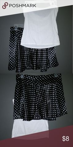 Just for Fun, Skirt and Halter Set This is a black and white polka dot skater skirt with a halter-top, t-shirt.    It's just for fun, and the price reflects the quality.  I used it as a bathing suit cover up to go from the beach to the restaurant without a major wardrobe overhaul.    Surely with some imagination , flip-flops and a cute bralett, this could double as a summer staple to kick around in. Skirts Skirt Sets