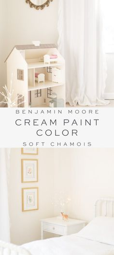 All the details about one of my favorite paint colors, Benjamin Moore Soft Chamois. Cream Paint Colors, Nursery Paint Colors, Girls Bedroom Colors, Neutral Paint Colors, Bathroom Paint Colors, Paint Colors For Home, Benjamin Moore, Bedroom Tv Wall, Room Wall Painting